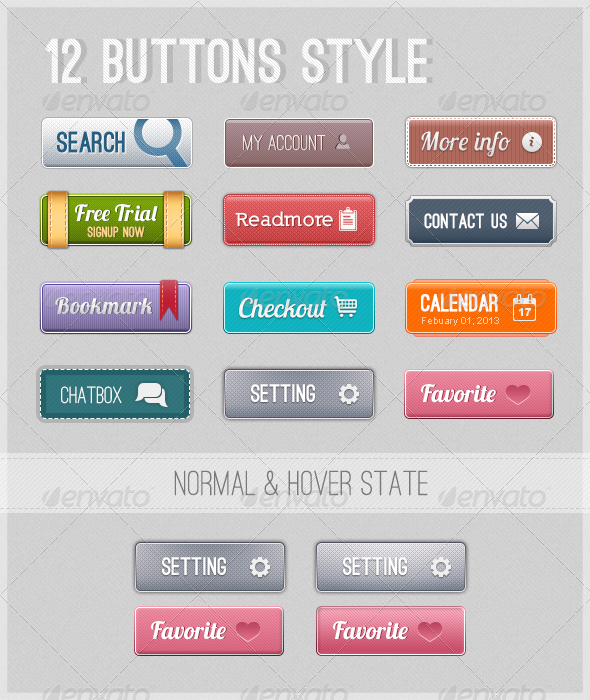 12 Web Buttons  - Buttons Web Elements