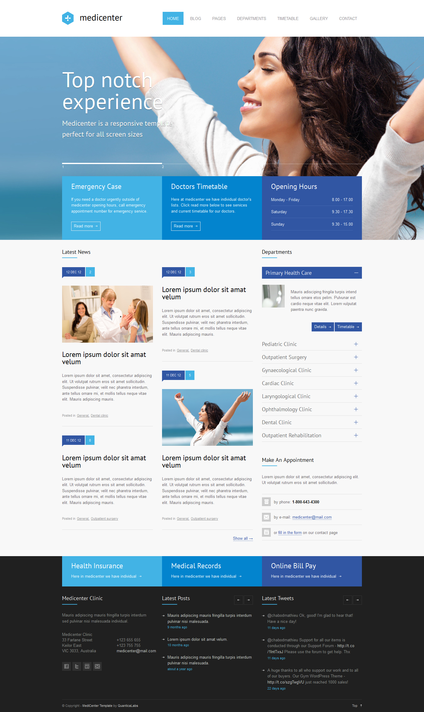 health template wordpress  MediCenter - Health Medical Clinic Template by QuanticaLabs ...