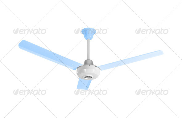 White-blue ceiling fan - Stock Photo - Images