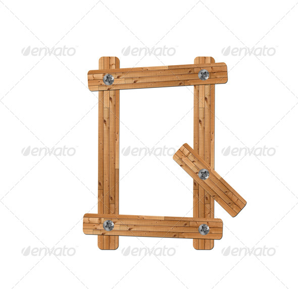 wooden alphabet - letter Q on white background - Stock Photo - Images