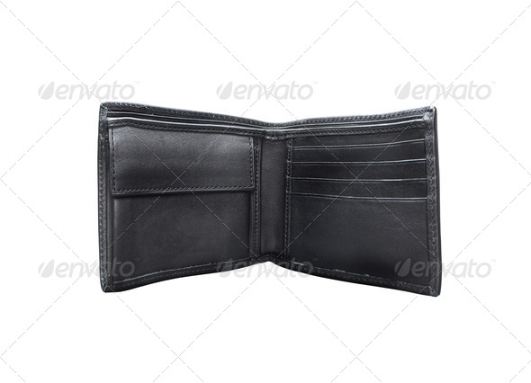 Open black wallet. On a white background. - Stock Photo - Images