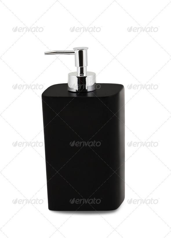 Glass pump soap bottle - Stock Photo - Images