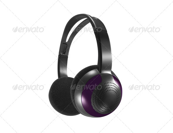 Computer headset on white background - Stock Photo - Images