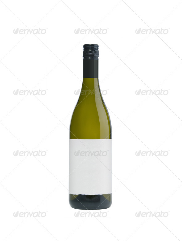 Green glass wine bottle isolated on white - Stock Photo - Images