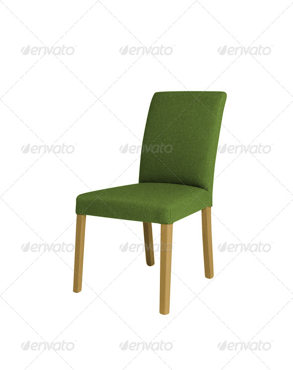 green chair on a white background - Stock Photo - Images