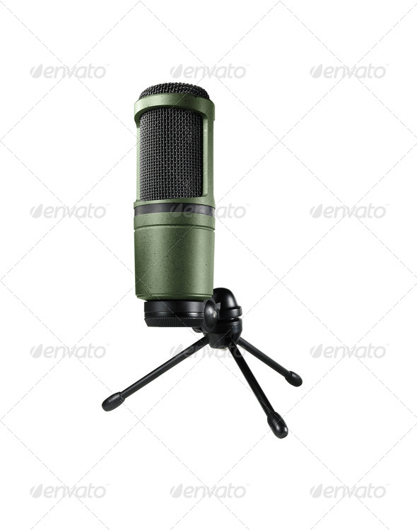 microphone on stand isolated on white background - Stock Photo - Images