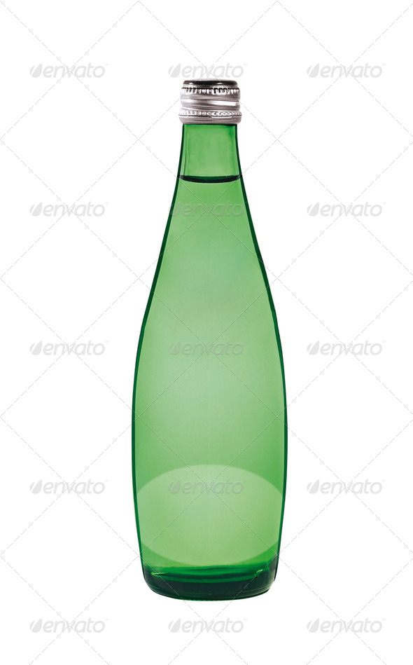 Green bottle. On a white background. - Stock Photo - Images