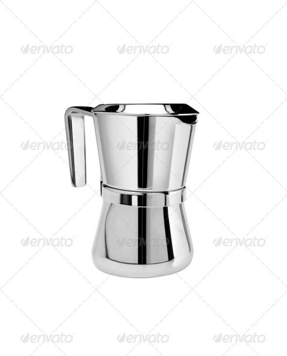 Metal tea pot on white background - Stock Photo - Images