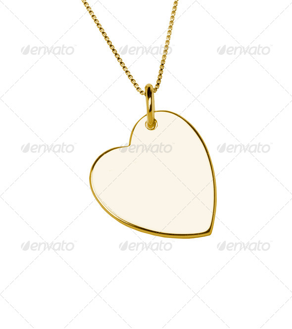 Golden heart pendant isolated on white background - Stock Photo - Images