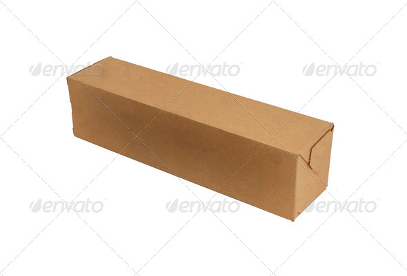 Long carton box isolated on white - Stock Photo - Images