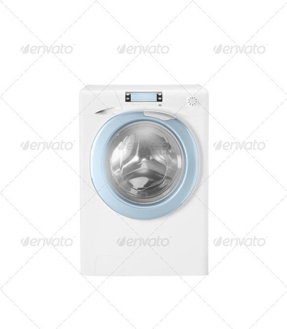 Washing machine isolated on white - Stock Photo - Images