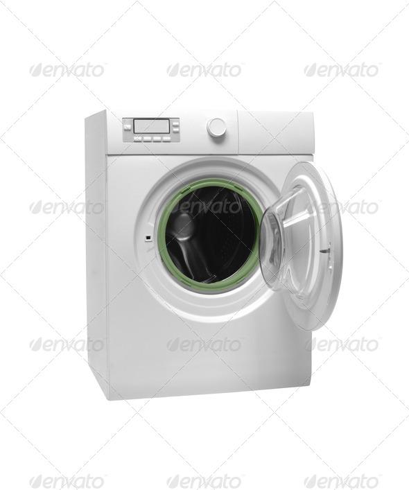 Isolated washing machine on a white background - Stock Photo - Images