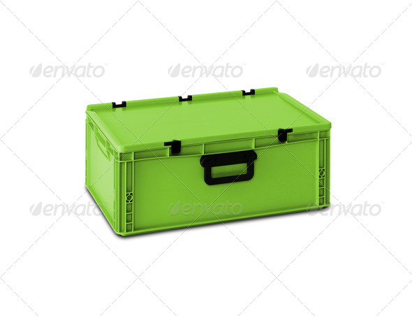 Green plastic box - Stock Photo - Images