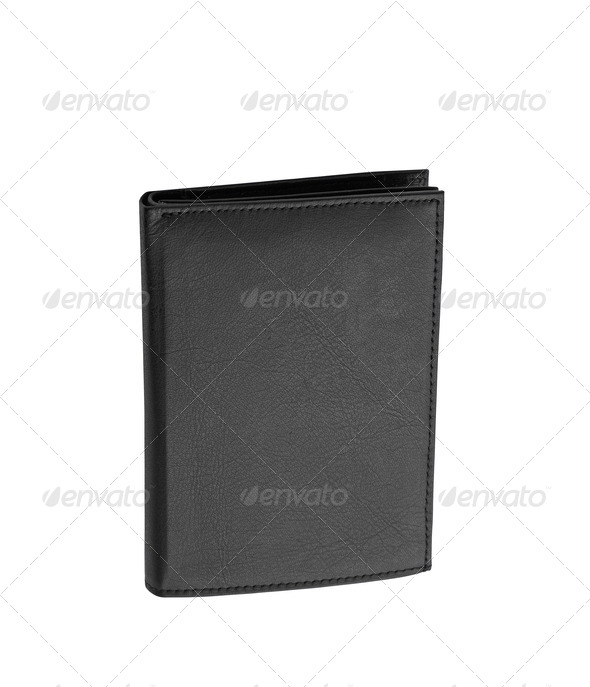 Black leather case on white background - Stock Photo - Images