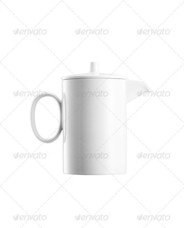 Ceramick teapot on white background - Stock Photo - Images