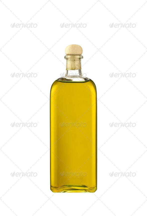 Olive oil bottle isolated on white background - Stock Photo - Images