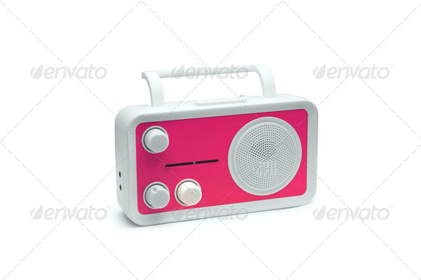 Pink Old fashioned radio isolated on white background - Stock Photo - Images