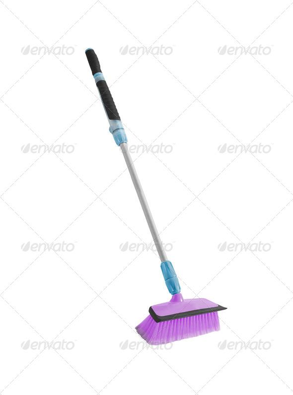 Broom isolated on white background - Stock Photo - Images