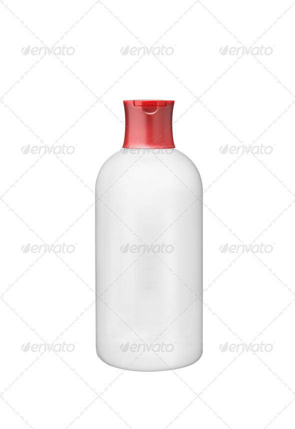 White plastic botle isolated on white background - Stock Photo - Images
