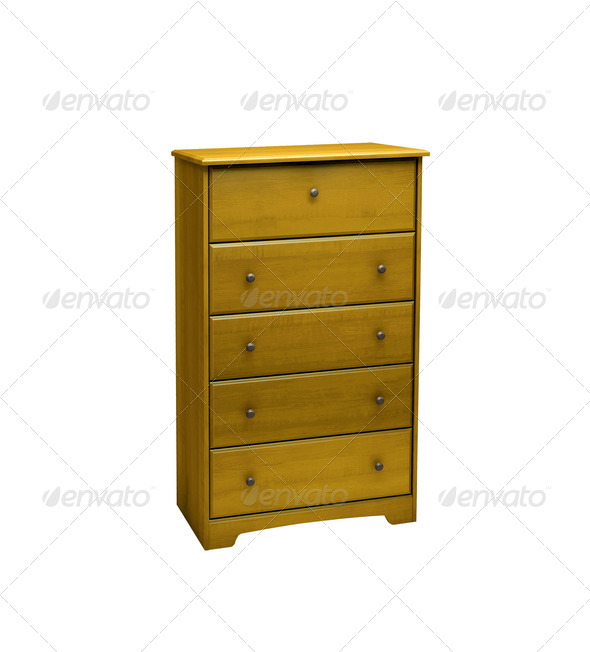 Bedside table isolated on white background - Stock Photo - Images