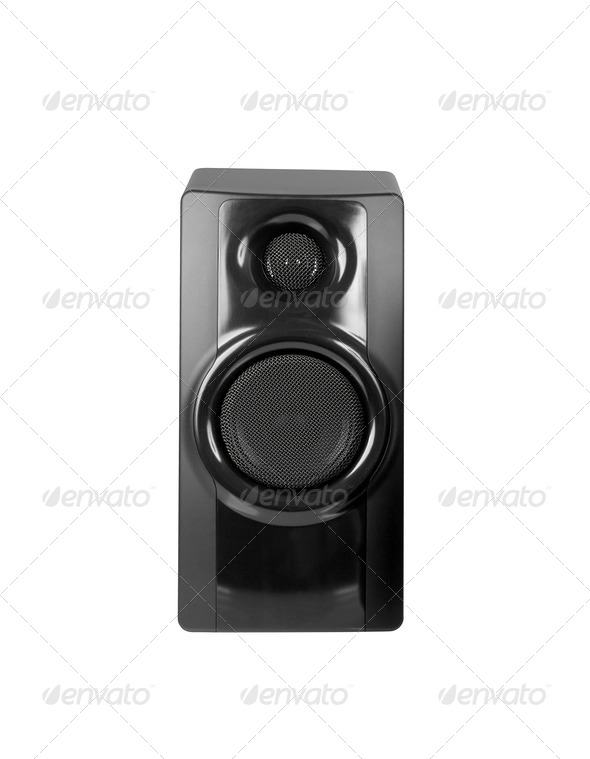 Black sound speaker on white background. - Stock Photo - Images