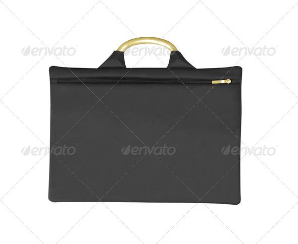 Black thin bag isolated on white - Stock Photo - Images