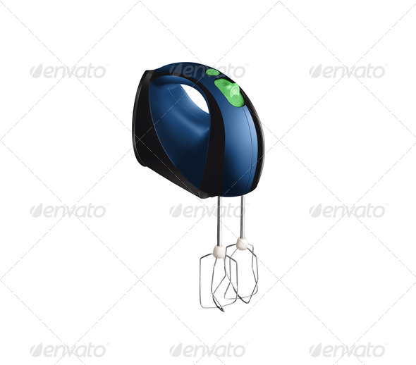 blue electric mixer Isolated on white background - Stock Photo - Images
