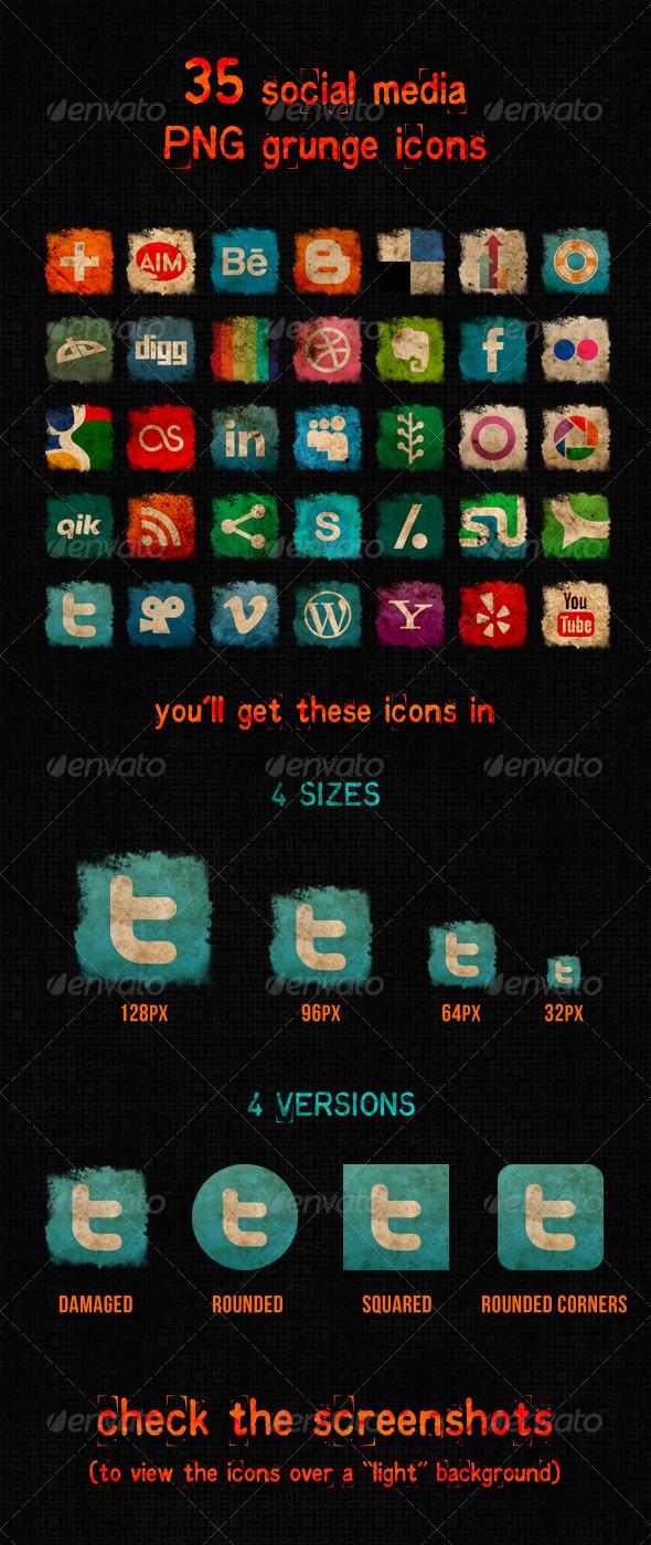Social Media Grunge Icons - Web Icons