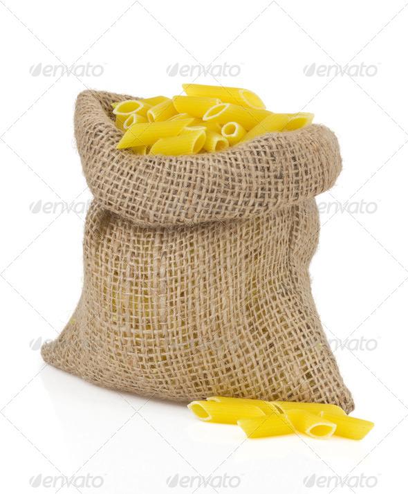 raw pasta on white - Stock Photo - Images