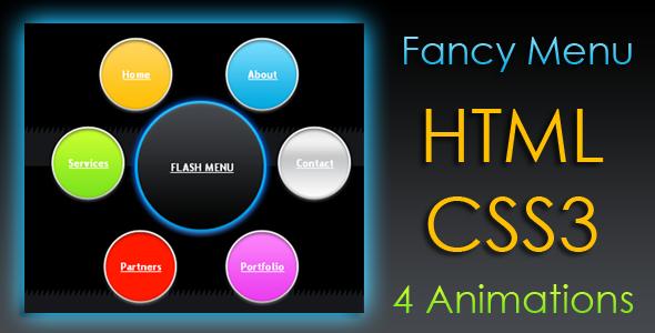 Animated Fancy Menu - HTML & CSS3 by ElysiumWebSolutions | CodeCanyon