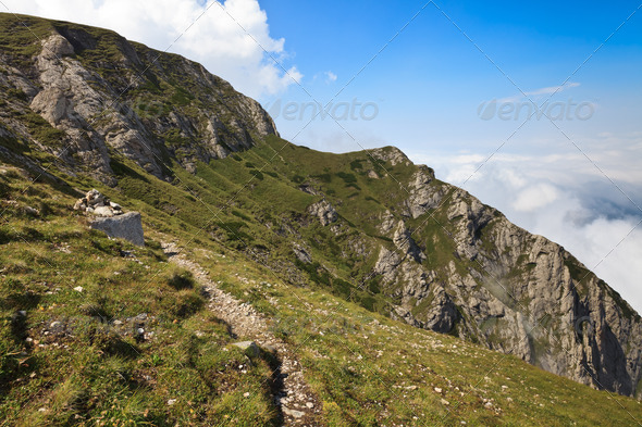 path on a mountain slope - Stock Photo - Images