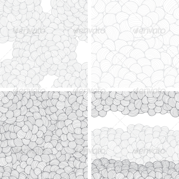 Seamless Abstract Wave Hand-Drawn Patterns - Patterns Decorative