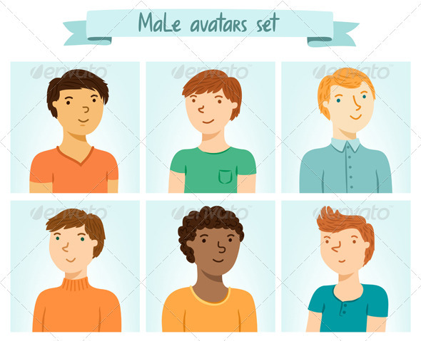 Male Avatars Set - People Characters