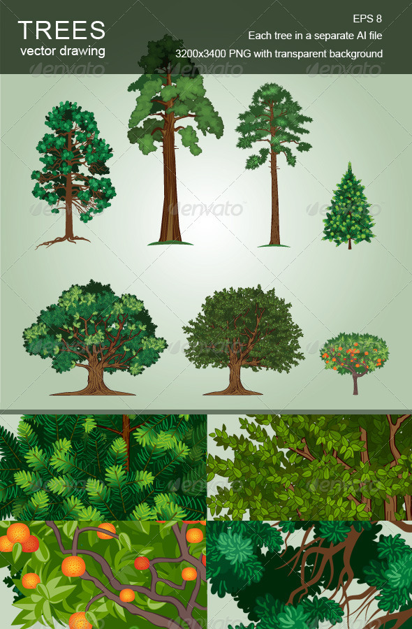 Set of Vector Trees - Flowers & Plants Nature