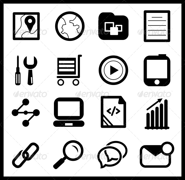 Black web icon set - Web Technology