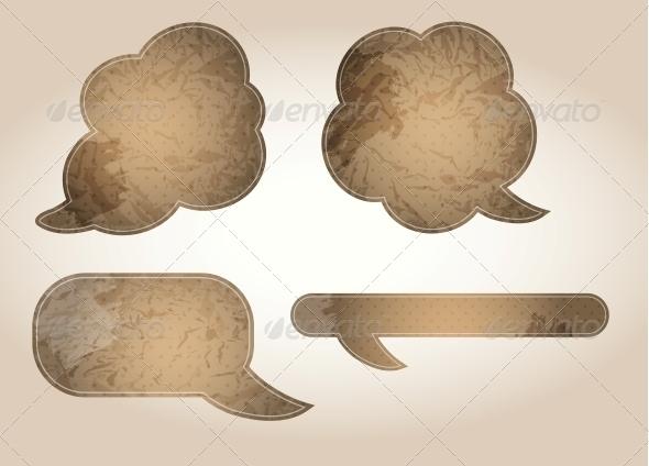 Aged Paper Speech Bubbles Vector Illustration - Decorative Symbols Decorative