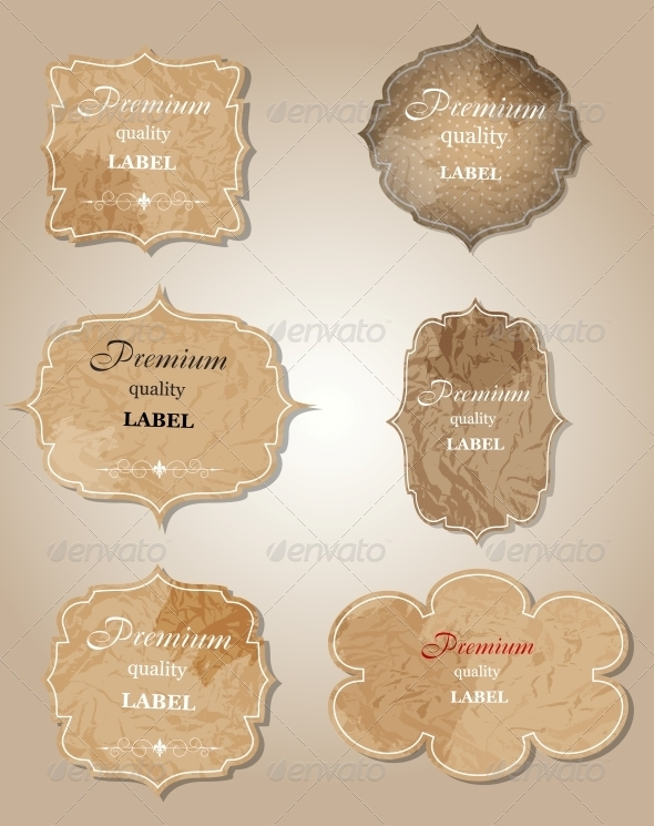 Aged Paper Labels Vector Illustration - Decorative Symbols Decorative