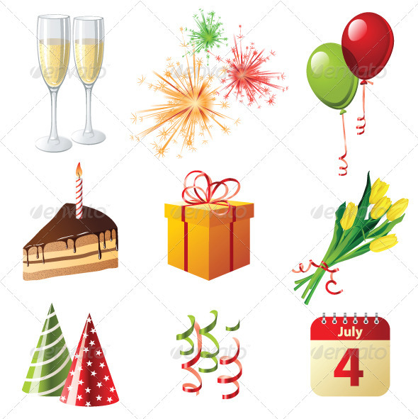 Celebration Icons - Objects Vectors