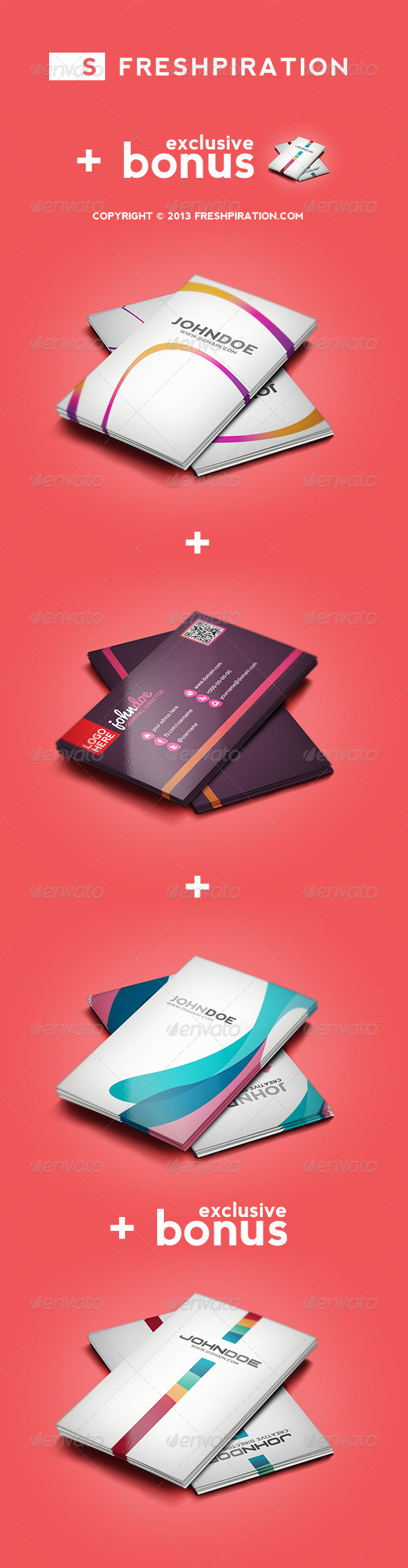 4 Colorful Business Cards Pack (1 Exclusive Bonus) - Creative Business Cards
