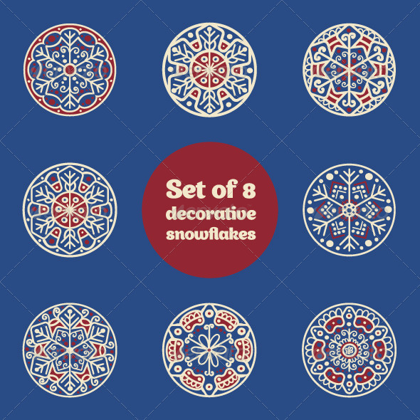 Set of 8 Decorative Hand-drawn Snowflakes - Decorative Symbols Decorative