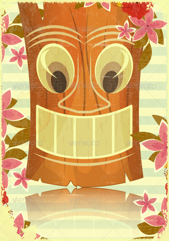 Vintage Hawaiian Tiki Postcard - Travel Conceptual