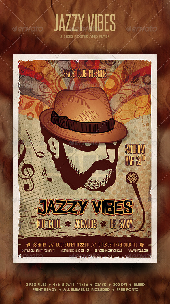 Jazzy Vibes Poster and Flyer - Events Flyers