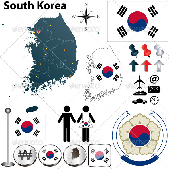 South Korea Map - Travel Conceptual