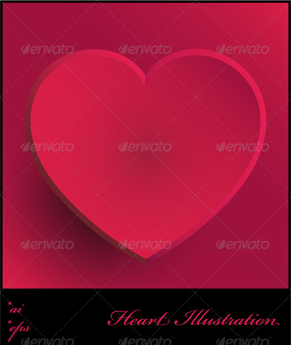 Pink Heart Illustration - Valentines Seasons/Holidays