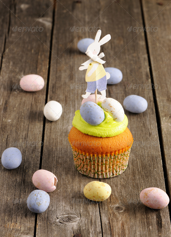 Easter homemade cupcake - Stock Photo - Images