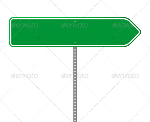 Empty Green Direction Sign - Objects Vectors