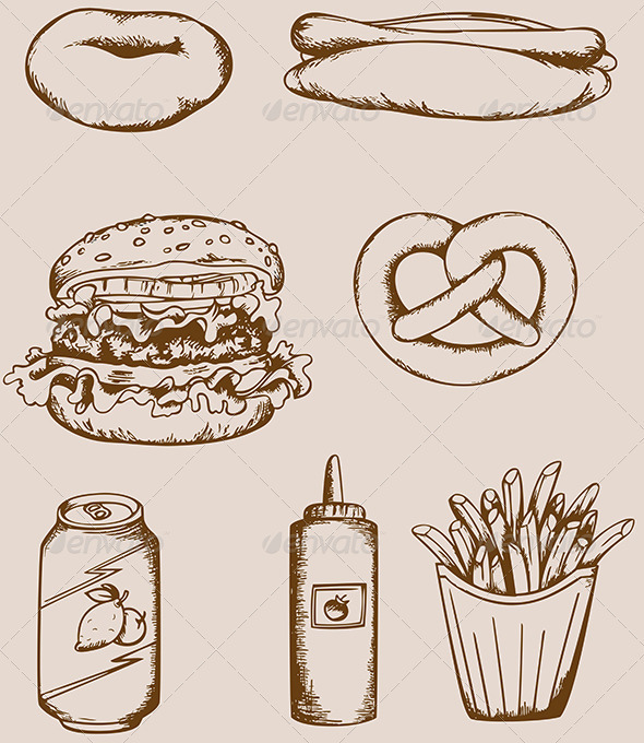 Fast Food Vintage Icons - Food Objects