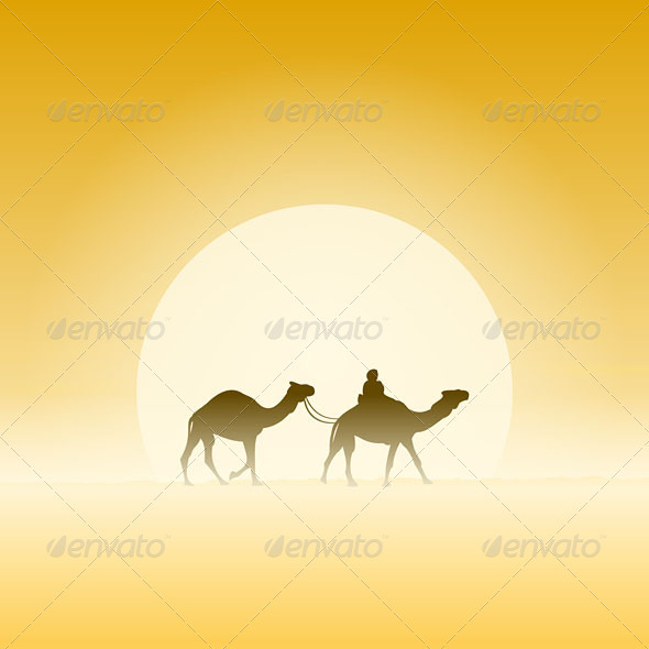 Two Camels and Sun - Travel Conceptual