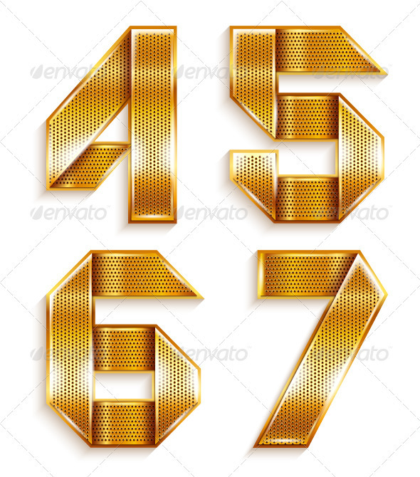 Numerals folded from a metallic golden ribbon - Decorative Symbols Decorative