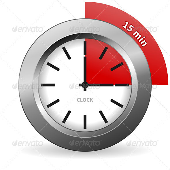 Clock 15 Minutes To Go - Business Conceptual